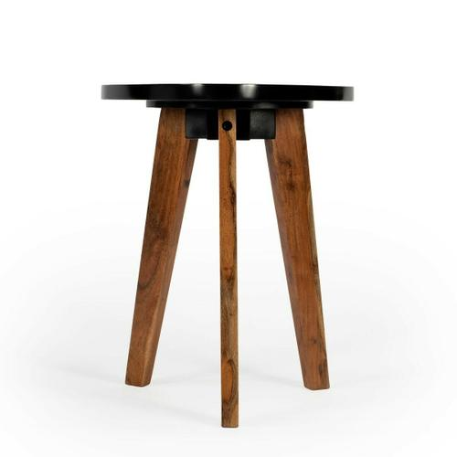 This contemporary Bunching Table will add modern style to your home. The three angled acacia wood legs support a geometric black table top. Placed next to a couch or chair you can display more modern decor or just set down your drink with style.