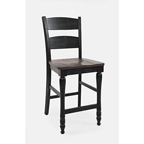 Madison County Ladderback Counter Stool (2/ctn) - Vintage Black