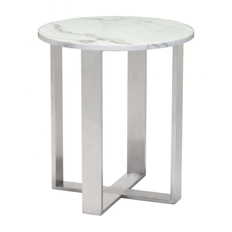 Atlas End Table Stone White & Silver