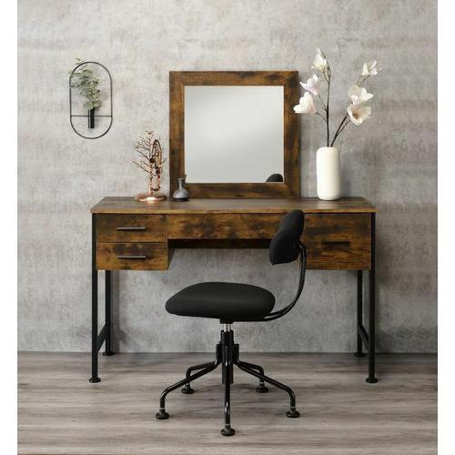 ACME Juvanth Vanity Desk & Mirror, Rustic Oak & Black Finish - 24267