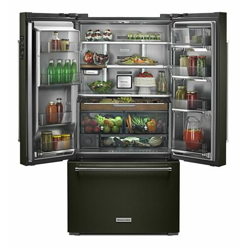 """KitchenAid - 23.8 cu. ft. 36"""" Counter-Depth French Door Platinum Interior Refrigerator with PrintShield™ Finish - Black Stainless Steel with PrintShield™ Finish"""