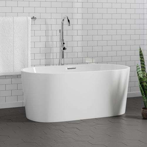 """Oswald 59"""" Acrylic Tub with Integrated Drain and Overflow - Brushed Nickel Drain and Overflow"""