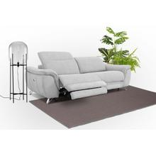 View Product - Divani Casa Paul - Contemporary Grey Fabric 3-Seater Sofa w/ Electric Recliners