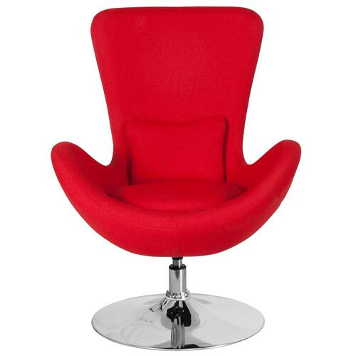 Red Fabric Side Reception Chair