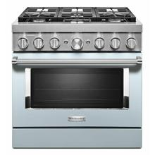 View Product - KitchenAid® 36'' Smart Commercial-Style Dual Fuel Range with 6 Burners - Misty Blue