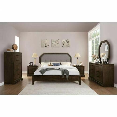 ACME Selma Eastern King Bed - 24087EK - Light Gray Fabric & Tobacco