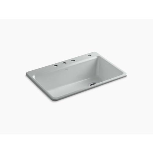"Ice Grey 33"" X 22"" X 9-5/8"" Top-mount Single Bowl Workstation Kitchen Sink W/ Accessories"