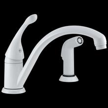 White Single Handle Kitchen Faucet with Spray