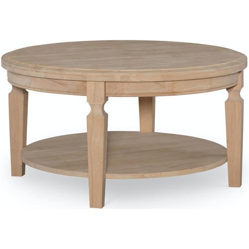 John Thomas Furniture - Round Coffee Table in Hickory & Coal