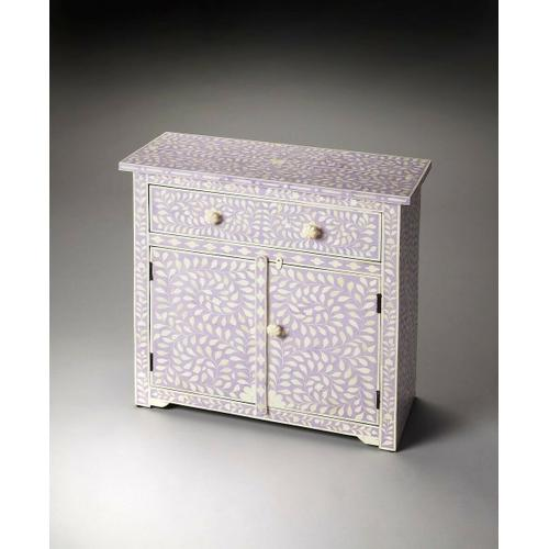 Butler Specialty Company - This lavender console chest offers a unique touch to any room. Developed from centuries old artistic traditions, the pastel background showcases the opalescence of hand-carved bone inlay. The two doors and single drawer are complimented with bone pulls making the perfect hiding place for table linens and serving trays, or bedside for all your favorite keepsakes.