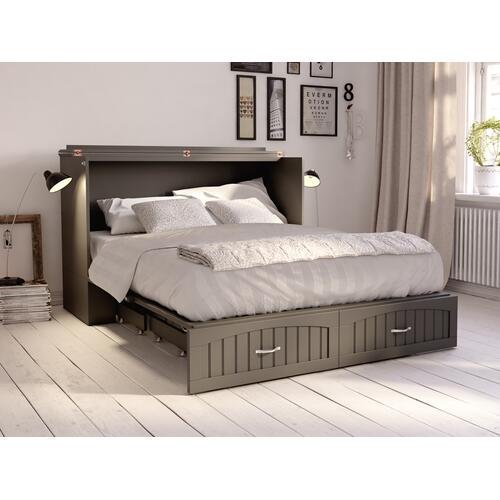 Southampton Murphy Bed Chest Queen Atlantic Grey with Charging Station