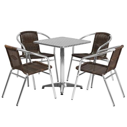 23.5'' Square Aluminum Indoor-Outdoor Table Set with 4 Dark Brown Rattan Chairs