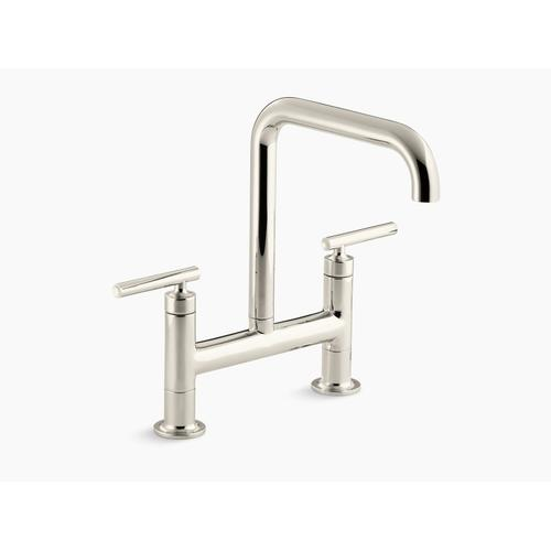 """Vibrant Polished Nickel Two-hole Deck-mount Bridge Kitchen Sink Faucet With 8-3/8"""" Spout"""