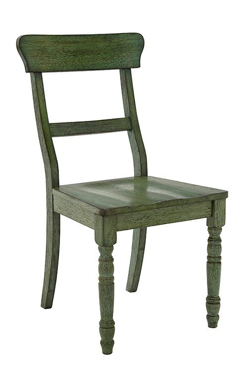 Dining Chair- 2/CTN- Antique Green - Antique White Finish