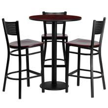 See Details - 30'' Round Mahogany Laminate Table Set with 3 Grid Back Metal Barstools - Mahogany Wood Seat