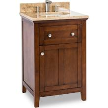 "24"" Chocolate Brown vanity with Satin Nickel hardware, Shaker style, and preassembled Emperador Light Quartz top and oval bowl"