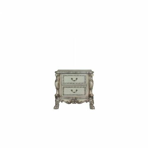 ACME Dresden Nightstand - 28173 - Traditional, Vintage - Wood (Poplar), MDF, Poly-Resin - Vintage Bone White