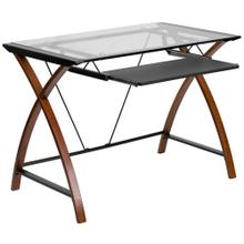 See Details - Glass Computer Desk with Pull-Out Keyboard Tray