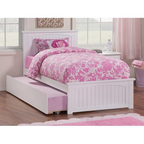 Atlantic Furniture - Nantucket Twin Bed with Matching Foot Board with Urban Trundle Bed in White