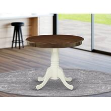 Antique Dining Table Made of Rubber Wood offering Walnut Finish Table Top, 36 Inch Round, Linen White Pedestal