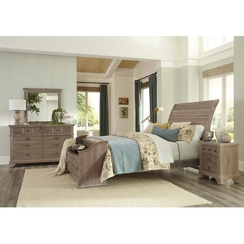 """Rogers"" Sleigh Bed with Elders bench Footboard"
