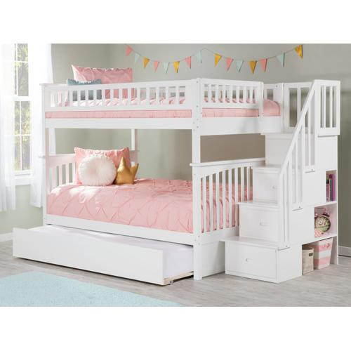 Atlantic Furniture - Columbia Staircase Bunk Bed Full over Full with Urban Trundle Bed in White