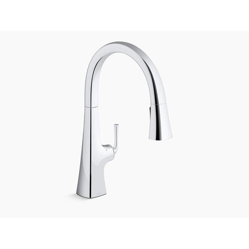 Matte Black Touchless Pull-down Kitchen Sink Faucet With Three-function Sprayhead