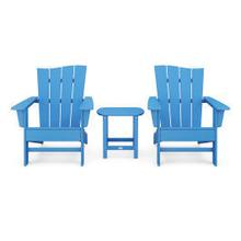 View Product - Wave 3-Piece Adirondack Chair Set in Pacific Blue