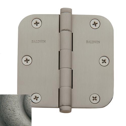 "Baldwin - Distressed Antique Nickel 5/8"" Radius Corner Hinge"
