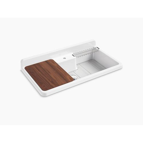 """White 45"""" X 25"""" X 9"""" Top-mount/wall-mount Kitchen Sink With Single Faucet Hole, White Underside"""