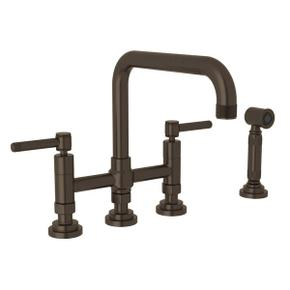 Campo Deck Mount U-Spout 3 Leg Bridge Faucet with Sidespray - Tuscan Brass with Industrial Metal Lever Handle
