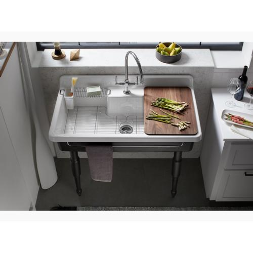 "White 45"" X 25"" X 9"" Top-mount/wall-mount Kitchen Sink With Two Faucet Holes, Black Underside"