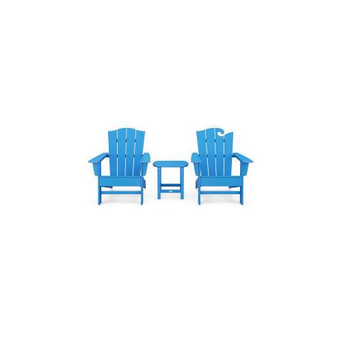 Polywood Furnishings - Wave Collection 3-Piece Set in Vintage Pacific Blue