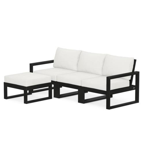Polywood Furnishings - EDGE 4-Piece Modular Deep Seating Set with Ottoman in Black / Natural Linen