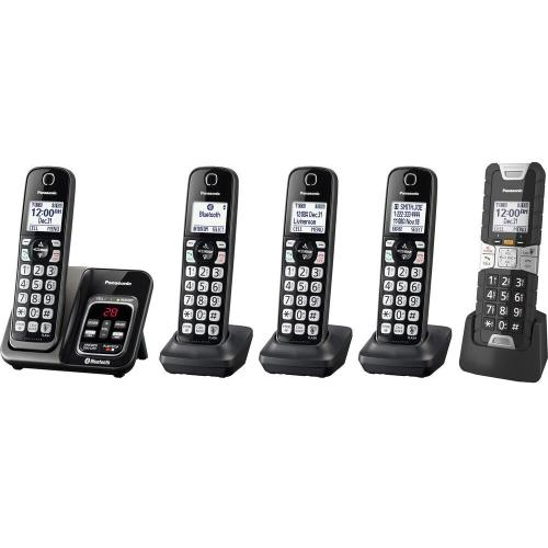 Link2Cell Bluetooth® Cordless Phone with Voice Assist and Answering Machine - 4 Standard Handsets + 1 Rugged Handset - KX-TGD585M2