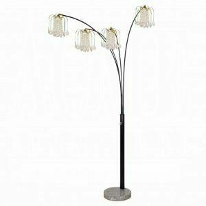 ACME Chandelier Floor Lamp - Shade & Stand - 03678BK - Black - Crystalline Lamp