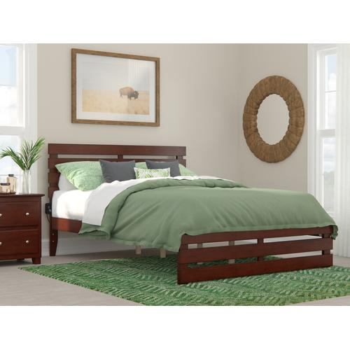 Oxford Queen Bed with Footboard and USB Turbo Charger in Walnut