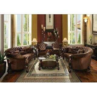 ACME Versailles Sofa w/5 Pillows - 52080 - Brown Velvet & Cherry Oak