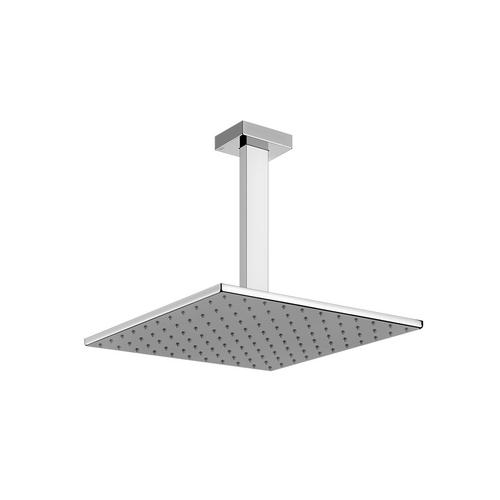 """Gessi - Ceiling-mounted adjustable and antilimestone showerhead 11-13/16"""" X 11-13/16"""" 1/2"""" connections Projection from ceiling 10-3/ 8"""" Max flow rate 1"""