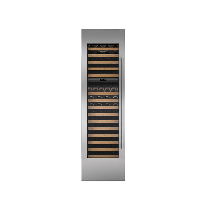 "Stainless Steel Wine Storage Door Panel with Tubular Handle and 6"" Toe Kick - Left Hinge"
