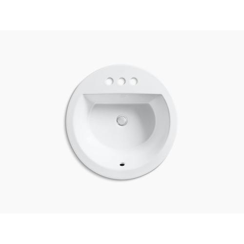 """White Drop-in Bathroom Sink With 4"""" Centerset Faucet Holes"""