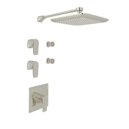 Polished Nickel Perrin & Rowe Hoxton Thermostatic Shower Package with Hoxton Metal Lever