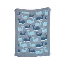 "32""L x 40""W Cotton Knit Blanket w/ Whale, Grey (Thread Count - 700 Grams)"