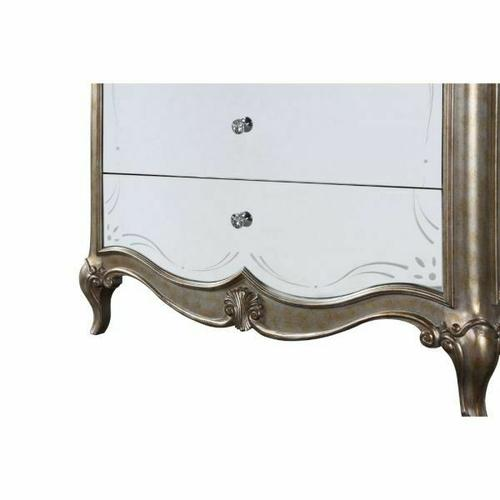 ACME Esteban Nightstand (2 Drw) - 22203 - Glam - Wood (Poplar), Poly-Resin, MDF, PB - Antique Champagne