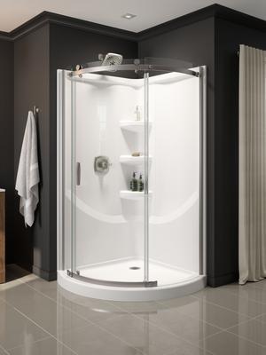 White 38'' Round Corner Shower Base Product Image