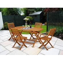 This 5 Piece Acacia Solid wood Patio area Sets offers one Outdoor-Furniture table and 4 chairs