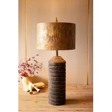 See Details - tall wooden table lamp with antique gold metal shade