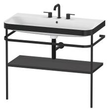 Furniture Washbasin C-bonded With Metal Console Floorstanding, Graphite Super Matte