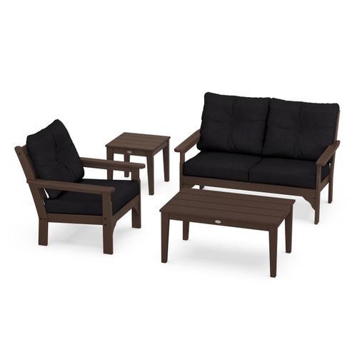 Vineyard 4-Piece Deep Seating Set in Mahogany / Midnight Linen