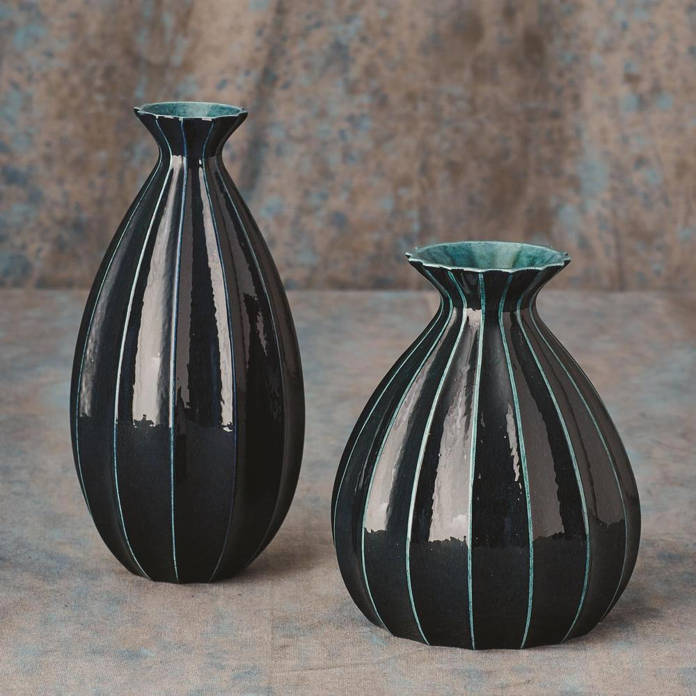 See Details - Fluted Cinched Vase-Ink-Tall